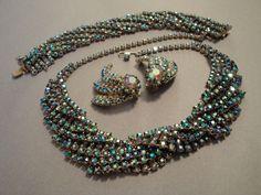Vintage Rhinestone Parure Necklace Bracelet by EyeCandyAntiques, $195.00