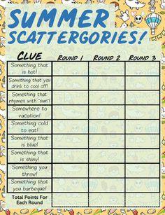 FREE Summer Scattergories Pack! Elderly Activities, Speech Therapy Activities, Fun Activities, Family Game Night, Family Games, Night Kids, Fun Games, Games For Kids, Dice Games