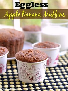 Chocolate Banana Muffins recipe with step by step photos. These healthy, moist and soft chocolate banana muffins make a great breakfast, snack & freezes well too. Eggless Muffins, Apple Banana Muffins, Eggless Desserts, Eggless Recipes, Eggless Baking, No Dairy Recipes, Healthy Muffins, Healthy Cookies, Eggs