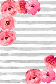 Free Phone Wallpaper / Background cute gray and white watercolor stripes with pink floral