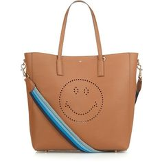 Anya Hindmarch Smiley Featherweight Ebury striped handle tote (19.802.755 IDR) ❤ liked on Polyvore featuring bags, handbags, tote bags, tan multi, leather tote, beige leather tote, leather handbag tote, leather purse and tan leather handbags