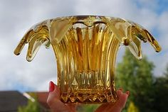 "Art Deco "" Sowerby "" Amber Glass Flower Vase & Frog - mine is clear glass"