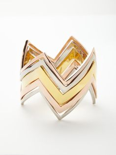 Set of 5 Jagged Stackable Bangles by House of Harlow 1960 at Gilt