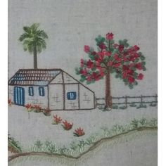 A aldeia (03/10) Hand Embroidery Flowers, Embroidery Hoop Art, Hand Embroidery Patterns, Beaded Embroidery, Cross Stitch Embroidery, Sewing Patterns, Cow Painting, Rug Hooking, Needlework