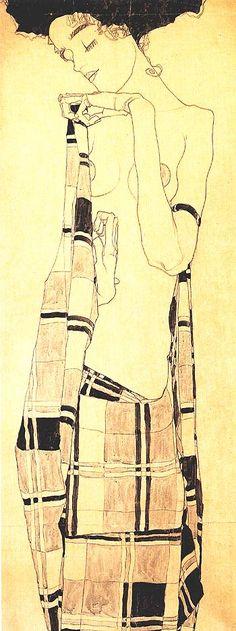 Egon Schiele. Standing Girl in Plaid Garment.