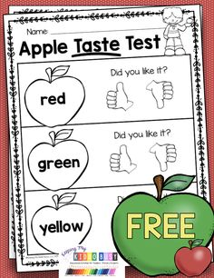 FREEBIE Apple Taste Testing - print this free activity for your apple unit in pre-k preschool or kindergarten - which apple tastes the best - free apple graph - All About Apple Unit kindergarten fall apples kindergartenfreebies 342273640431016119 Preschool Apple Theme, Preschool Classroom, September Preschool Themes, Preschool Apples, Preschool Apple Activities, Fall Preschool Science, All About Me Activities For Preschoolers, Apple Theme Classroom, Summer Science