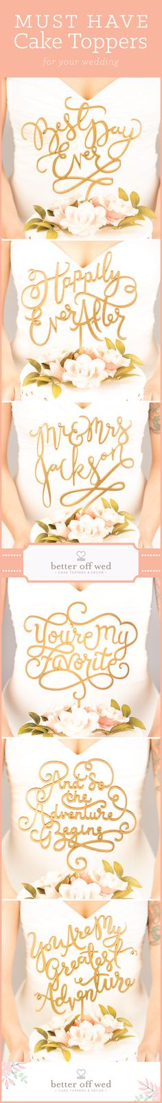 Seriously the sweetest cake toppers I've ever come across! And more than 100 designs to choose from! www.betteroffwed.co