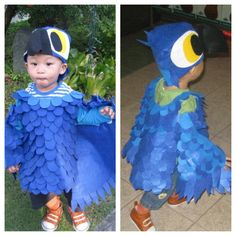 Crafted Blu from Disney Rio movie. Animal Costumes, Cute Costumes, Baby Costumes, Halloween Costumes, Parrot Costume, Bird Costume, Halloween 2014, Holidays Halloween, Rio Birthday Parties