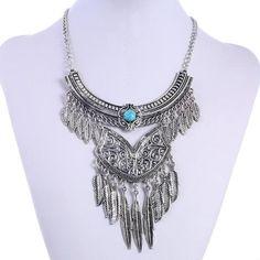 Turquoise Tassel Choker Necklace