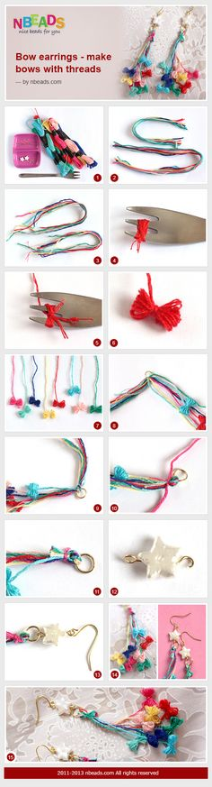 bow earrings - make bows with threads