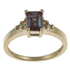 14k Yellow Gold 1/10ct TDW Diamond and Created Alexandrite Ring