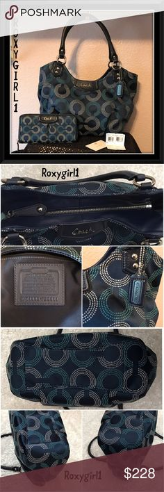 """Coach Ashley Dotted Op Art Tote & Wallet Set Coach Ashley Dotted Op Art Tote & Wallet Set  EUC ~ No Stains or Issues~Clean Inside & Out! Rarely Carried  MSRP OF SET: $586  Color: SV/NAVY/DEEP INK  DETAILS: Dotted op art print sateen with leather trim  Zip-Top Closure Silver Hardware & 1 Hang Tag Inside Zip & 2 Slip Pockets  Handles with 9"""" drop  15 1/4"""" L x 11 1/2"""" H x 5 1/4"""" W  Accordion Zip Wallet has Tons of Storage & Back has Slip Pocket  ❌NO TRADE❌ Coach Bags Shoulder Bags"""
