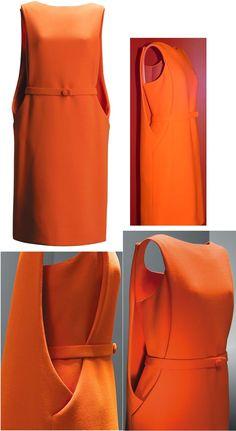 BALENCIAGA-Paris-1968. Cristobal Balenciaga 1968 60s couture designer fashion dress space age orange belt colour Más