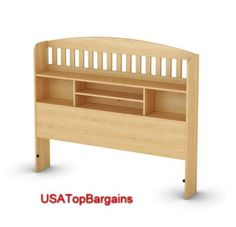 organize your bedroom with this natural wood full queen size headboard bed bedroom frame bookcase furniture