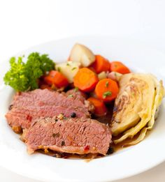 Corned Beef Recipe simmered in a rich, flavorful Guinness sauce. ~ http://steamykitchen.com