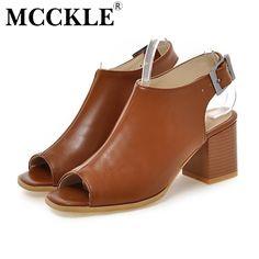 MCCKLE Femme Mode Haute Talons Sandales Dames Peep Toe Escarpins Boucle  Confort Sangle Solide Chaussures Femme Plus Size34 43 dans Femmes de  Sandales de ... 02237745fb09