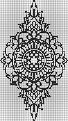 Alpha friendship bracelet pattern added by mandala henna tattoo flower. Alpha Patterns, Loom Patterns, Beading Patterns, Embroidery Patterns, Cross Stitch Charts, Cross Stitch Designs, Cross Stitch Patterns, Friendship Bracelet Patterns, Friendship Bracelets