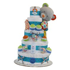 New Baby Boys Pirate Themed Nappy Cake Baby Shower Hamper Gift FREE UK Delivery!