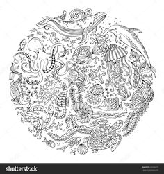 Circle Vector Set Of Doodles Wild Sealife. Contours Of Whale, Dolphin, Turtle, Fish, Starfish - Design interests Fall Coloring Pages, Mandala Coloring Pages, Animal Coloring Pages, Adult Coloring Pages, Coloring Books, Coloring Sheets, Octopus Coloring Page, Secret Garden Colouring, Underwater Animals