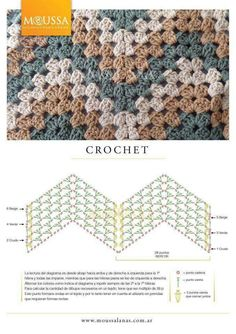 This is an awesome zig zag pattern to crochet. You can do this pattern with a treble crochet, a double crochet, or a half-double crochet. Crochet Stitches Free, Crochet Motifs, Crochet Diagram, Crochet Chart, Crochet Blanket Patterns, Diy Crochet, Stitch Patterns, Crochet Blankets, Afghan Patterns