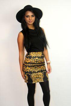 gold & black baroque print skirt www.mimizboutique.com