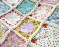 Hanky Quilt Vintage Style Hanky Handkerchief Rag Quilt
