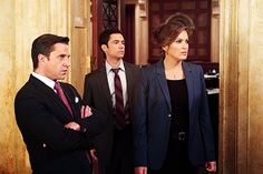 Barba, Amaro, and Benson; blue blazer, black