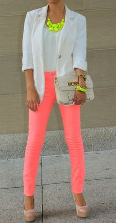 Who says you only have to wear one neon at a time? i WOULD NEVER BE ABLE TO PULL THIS OFF BUT I THINK ITS PRETTY! find more women fashion ideas on www.misspool.com