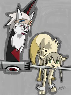 Soul and Maka as dogs
