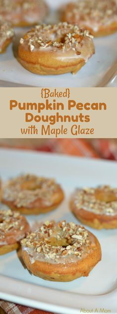 Nothing says Fall quite like fresh baked pumpkin pecan doughnuts with maple glaze. They are spectacular and perfect for breakfast or dessert!