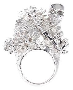 Alexander McQueen silver ring.