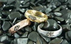 Gentileschi #LeBronzerie Fedi in bronzo bianco, rosa e giallo e diamanti champagne