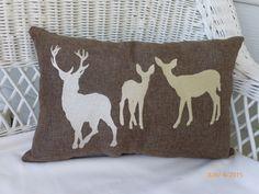Deer Accent Pillow  Embroidered Deer by JulieButlerCreations