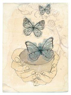 Bowl of Butterflies art print by lovelysweetwilliam on Etsy, $25.00