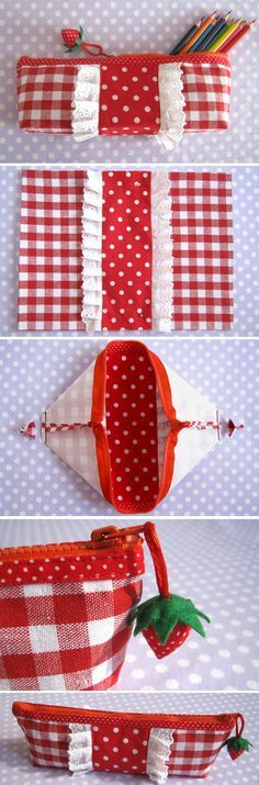 How to Sew Pencil case or cosmetic bag. DIY Photo Tutorial http://www.handmadiya.com/2016/03/pencil-case-strawberry-tutorial.html