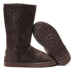 ▓☪ UGG Classic Tall Patent Paisley Boots 5852 Chocolate ,↗↘↗↘ Comment For Ideas~! Ugg Boots Sale, Ugg Boots Cheap, Ugg Classic Tall, Classic Ugg Boots, Paisley, Discount Boots, Discount Price, Ugg Winter Boots, Snow Boots