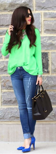 SPRING BLING… Neon to brighten your day, needs her  Hair Pulled back to pull her look together