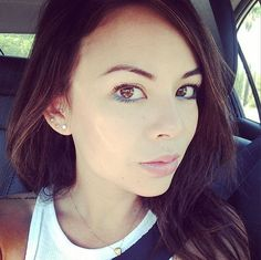 Janel Parrish makes blue eyeliner look awesome. #PrettyLittleLiars