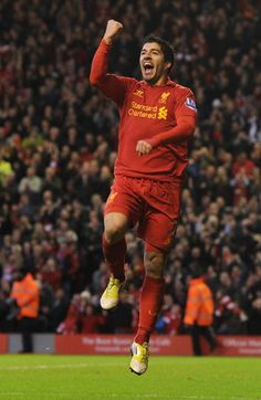 Luis Suarez celebrates yet another goal for @Gina Lunt FC #LFC #Suarez
