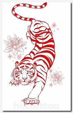 Tiger Tattoo Flash-Art Commission by megantoy on DeviantArt Flash Art Tattoos, Up Tattoos, Trendy Tattoos, Foot Tattoos, Forearm Tattoos, Body Art Tattoos, Tattoo Drawings, Tattoos For Guys, Symbol Tattoos