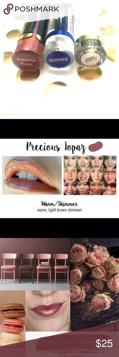 """LipSense Lip Kit (Precious Topaz) This is the lip product you have been seeing all over social media!💋 I am NOT a """"seller"""" for this company.  This is the surplus from a group order with my friends.  New. Never opened. Always stored in my home.   LipSense truly stays ON! -no smudging or smearing -no transferring to loved ones  Includes: •1color-PRECIOUS TOPAZ (see picture) •1color removers •1 glossy gloss -direction card included  *$55 retail value* Senegence Makeup Lipstick"""