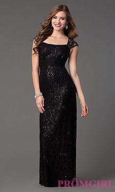 Floor Length Sequin Embellished Lace Dress at PromGirl.com