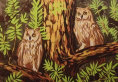 British Made Punch Needle Embroidery Large Owls by WebsterPunch