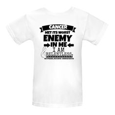 Retinoblastoma Cancer Met Its Worst Enemy in Me...I am Relentless Women's Organic T-Shirts spotlighting an ultra-strong motto with our original awareness ribbon to take a stand and support your cause $17.99 awarenessribboncolors.com