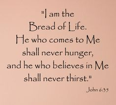 """John 6:35 """"I am the bread of life. He who comes to Me shall never hunger, and he who believes in Me shall never thirst.""""   #scripture"""
