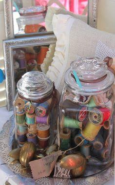 """For the craft room""  using my Mason jars to organize & display my grandma's old thread!!!!"