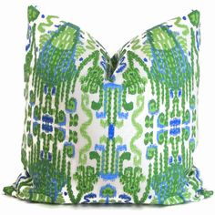 Green Ikat Decorative Pillow Cover 18x18 20x20 22x22 by PopOColor