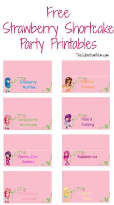 Strawberry Shortcake Food Display Signs – Free Party Printables