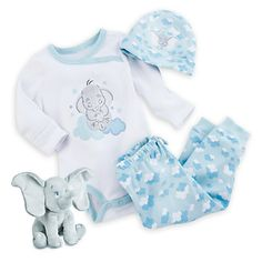 They'll fly off to sleep with a big smile on their face with this Dumbo Gift Set for Baby. This darling collection includes coordinating bodysuit, pants, hat, and Dumbo plush in a window display box for on the go charm. Outfits Niños, Baby Boy Outfits, Kids Outfits, Disney Baby Clothes, Baby Kids Clothes, Baby Mine, Baby Needs, Baby Boy Fashion, Reborn Babies