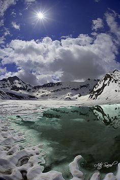 Dudiptsar Lake is encircled by snow clad peaks in Lulusar-Dudipatsar National Park. The lake lies in the extreme north of the Kaghan Valley in northern Pakistan. (V)
